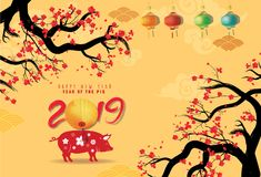 Creative chinese new year 2019 invitation cards. Year of the pig. Chinese characters mean Happy New Year vector illustration