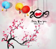 Creative chinese new year 2019 invitation cards. Year of the pig. Chinese characters mean Happy New Year. Happy new year 2019 greeting card