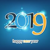 Happy New Year Greeting Card, Creative Design Template - 2019 stock illustration