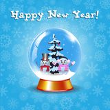 Happy new year greeting card with crystal snow globe. With couple of cute snowmen and fir tree on winter blue snowy background and cute snowflakes. Vector vector illustration