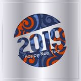 2019 Happy New Year greeting card with cut out numbers on patterned background. Vector. 2019 Happy New Year greeting card with cut out numbers on patterned royalty free illustration