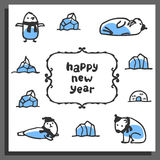 Happy new year greeting card with cute cartoon arctic animals Stock Photo