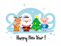Happy New Year 2019! Greeting card with cute cartoon characters. Flat design. Vector illustration Royalty Free Stock Photo