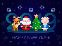 Happy New Year 2019! Greeting card with cute cartoon characters. Vector illustration Stock Photos