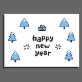 Happy new year greeting card with cute cartoon spruce Stock Photography
