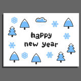 Happy new year greeting card with cute cartoon spruce Royalty Free Stock Photography