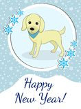 Happy new year greeting card with cute dog, puppy. Chinese New Year concept. Vector illustration. stock illustration
