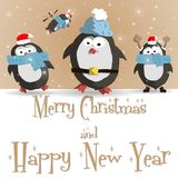 New Year penguins brown greeting card vector. Happy New Year greeting card with cute four penguins vector illustration Royalty Free Stock Images