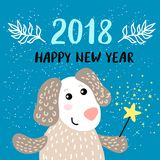 New Year 2018 greeting card with Dog Royalty Free Stock Photography