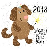 New Year 2018 greeting card with Dog Stock Photo