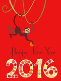 Happy New Year greeting card. With cute monkey - chinese symbol of 2016 year. The digits 2016 fill by fruits. Vector illustration on bright red background Royalty Free Stock Images