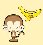 Happy New Year greeting card with cute monkey saying Happy New Year 2016. Vector Illustration Stock Images