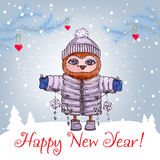 Happy New Year greeting card with cute owl in Stock Image