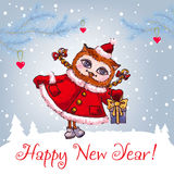 Happy New Year greeting card with cute owl in Royalty Free Stock Image