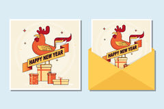 2017 Happy New Year greeting card with cute rooster. Vector illustration Stock Photography