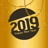 2019 Happy New Year greeting card with cutted numbers in circle and hanging gold pearls on background. Vector. 2019 Happy New Year greeting card with cutted vector illustration