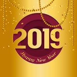 2019 Happy New Year greeting card with cutted numbers in circle and hanging gold pearls on background. Vector. 2019 Happy New Year greeting card with cutted royalty free illustration