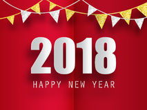 Happy New Year 2018 greeting card with 3d paper effect. Stock Photos