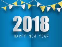 Happy New Year 2018 greeting card with 3d paper effect. Royalty Free Stock Photography