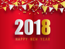 Happy New Year 2018 greeting card with 3d paper effect. Royalty Free Stock Images