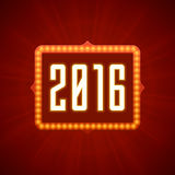 Happy New Year 2016 Greeting Card 3d Signage. Letters LIght Bulbs Retro Style. Good for Party Poster, Banner, Invitation Design. Numbers 2016, New Year 2016 Vector Illustration