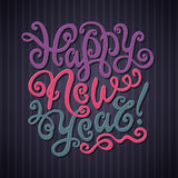 Happy New Year Greeting Card. Decorative hand Royalty Free Stock Images
