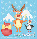 Happy New Year Greeting card with Deer and Penguin. Cute cartoon characters with Snowflakes and Presents bag Winter Holidays Hand drawn trendy colors in vector Stock Illustration