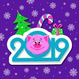 Happy New Year greeting card design with cartoon pigs face on violet background. royalty free illustration