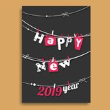 Happy New Year greeting card design with creative lettering hang. On back background stock illustration