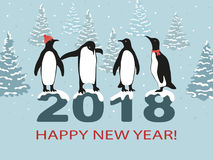 Happy New Year 2018 greeting card design with cute penguins. Vector illustration Stock Photo