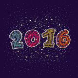 Happy new year 2016 greeting card design element Royalty Free Stock Photos