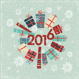 Happy new year 2016 greeting card design element. The inscription 2016 wreath of gifts. Vector. Holiday background royalty free illustration