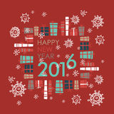 Happy new year 2016 greeting card design element. Vector. Holiday background. The inscription on a red background with gift box stock illustration