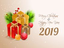 Happy New Year 2019 greeting card design with gift boxes and baubles illustration on glossy background for Merry Christmas stock illustration