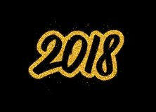 New Year 2018 greeting card design. Happy New Year 2018 greeting card design with golden calligraphic text on black background. Vector festive illustration with Stock Photos