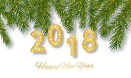 Happy New Year 2018 greeting card. Design with Golden number and spruce branches. Vector illustration. Happy New Year 2018 greeting card. Design with Golden Royalty Free Stock Images