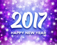 Happy New Year 2017 greeting card design. Happy New Year 2017 greetings on purple blurred background with magic bokeh lights and sparkles. Vector greeting card Royalty Free Stock Photography