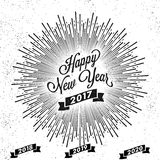 Happy New Year 2017 greeting card design. Happy New Year 2017 lettering design with burst effect, Creative greeting card Stock Images