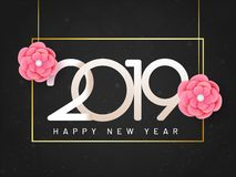 Happy New Year greeting card design, lettering of 2019 with pape. R cut flowers hang on black background. Can be used as banner design royalty free illustration