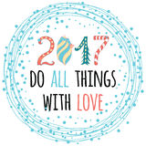 2017 happy new year greeting card design with quote. 2017 happy New Year greeting card design with innspiring positive quote for wishes decorated with snowballs Stock Images