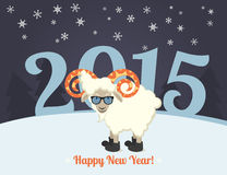 Happy new year greeting card design. With sheep hipster wearing glasses. Text outlined Stock Photos