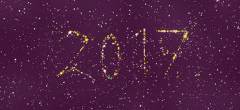 Happy new year 2017 greeting card. Design with stars and circles in different colors and shapes Royalty Free Stock Photos