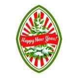 Happy New Year Christmas tree vector icon Stock Photo
