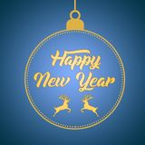 Happy New Year greeting card design template layout on blue gradient background with deer, text with hand drawing in the ball stock photography
