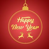 Happy New Year greeting card design template layout on red gradient background with deer, text with hand drawing in the ball royalty free stock photography