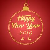 2019 Happy New Year greeting card design template layout on red gradient background with deer, text with hand drawing in the ball.  vector illustration