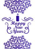 Happy New Year Greeting Card Design with Text. Happy New Year greeting card design inscription in frame decorated by snowflakes and candle vector illustration royalty free illustration