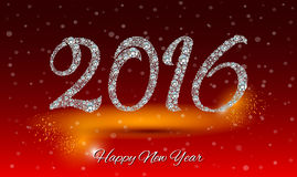 Happy New Year 2016 greeting card. Diamond background.  Stock Photo