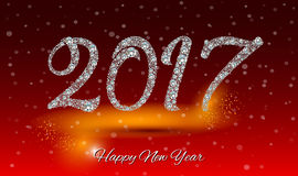 Happy New Year 2017 greeting card. Diamond background.