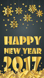 Happy new year greeting card. Different golden vector snowflakes Stock Photos